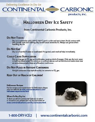 Be Safe using Dry Ice this Halloween!