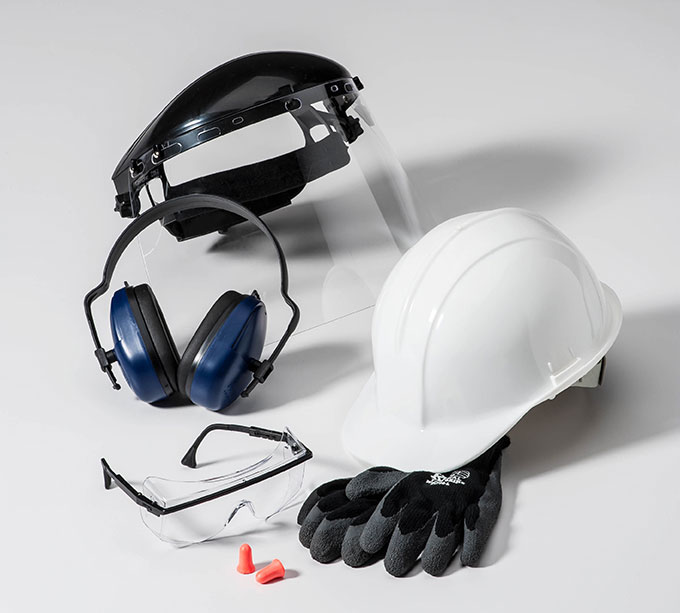 Safety gear for dry ice blasting